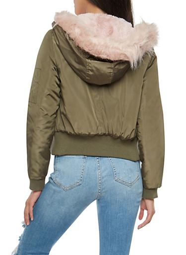 Faux Fur Lined Hooded Flight Jacket - Rainbow