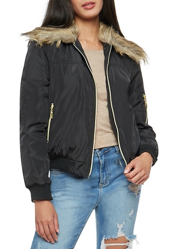 Flight Jacket with Faux Fur Collar,BLACK,large