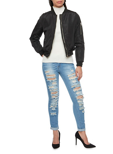 Padded Bomber Jacket,BLACK,large