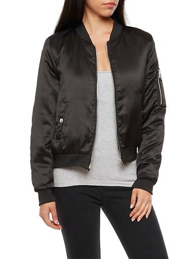 Satin Zip Bomber Jacket,BLACK,large