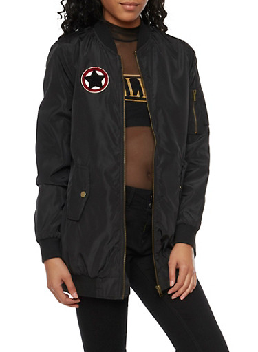 Long Bomber Jacket with Patch,BLACK,large