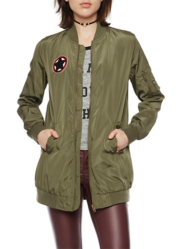 Long Bomber Jacket with Patch,OLIVE,large