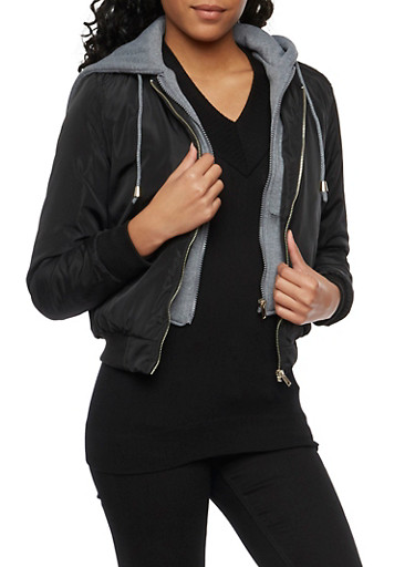 Bomber Jacket with Fleece Hoodie,BLACK,large