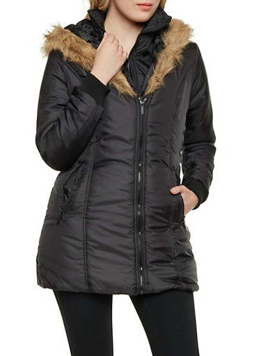Hooded Puffer Coat with Faux Fur Trim,BLACK,large