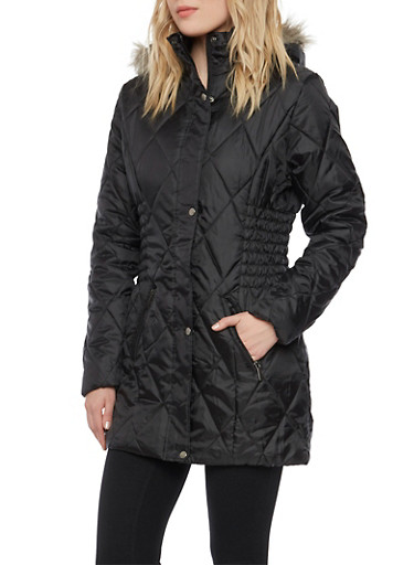 Quilted Puffer Coat with with Removable Hood,BLACK,large