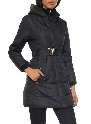 Long Hooded Puffer Jacket with Belt,BLACK,large