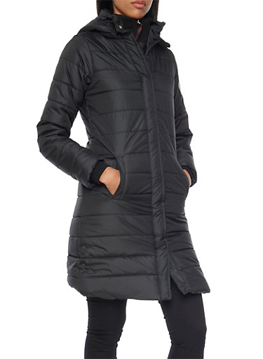 Long Puffer Coat with Removable Hood,BLACK,large