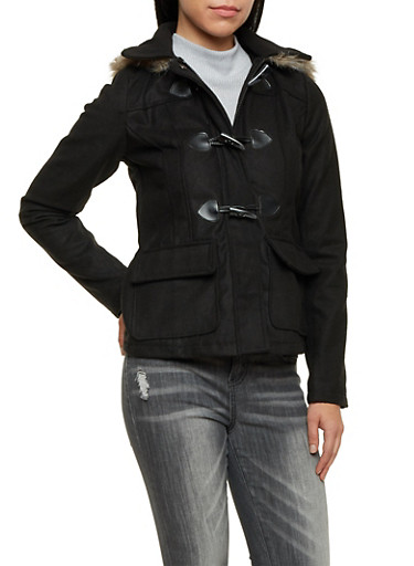 Toggle Coat with Faux Fur Trimmed Hood,BLACK,large