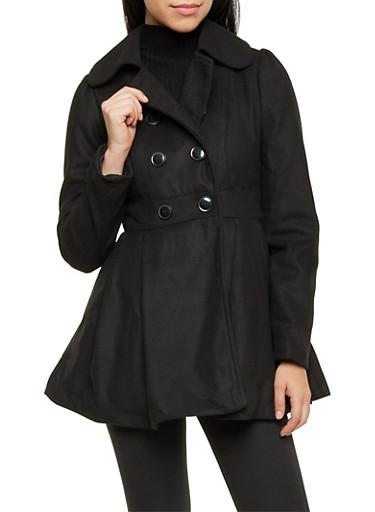 Felt Coat with Box Pleated Waist Paneling,BLACK,large