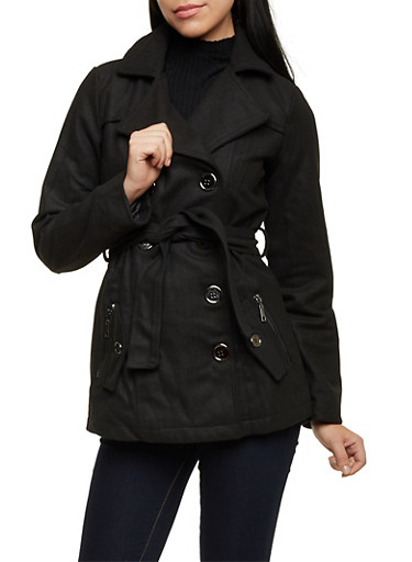Belted Felt Peacoat with Wide Notch Lapel,BLACK,large