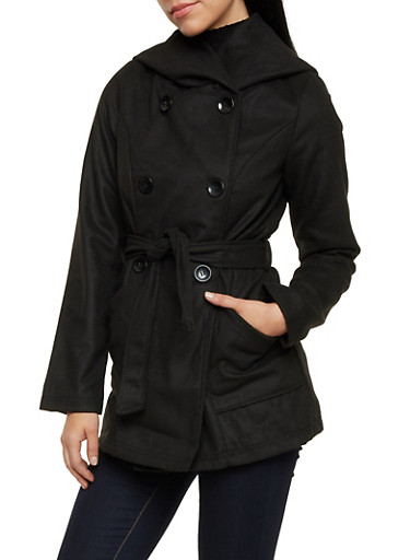 Belted Felt Coat with Attached Hood,BLACK,large