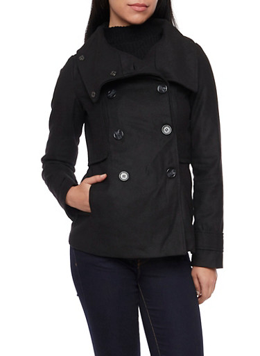 Felt Peacoat with Funnel Neck,BLACK,large
