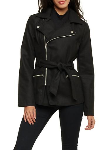 Felt Moto Jacket with Waist Belt,BLACK,large