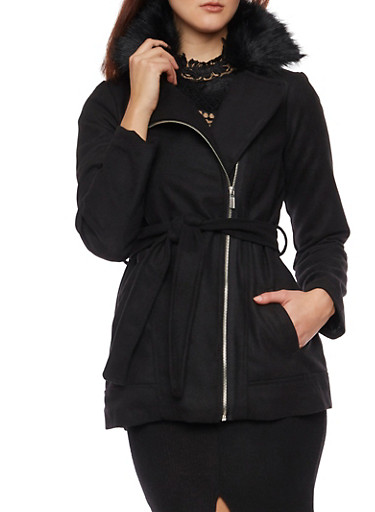 Belted Asymmetrical Zip Coat with Fur Collar,BLACK,large