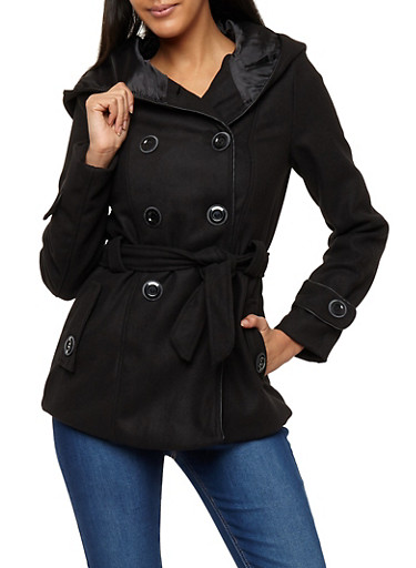 Wool Hooded Peacoat Jacket,BLACK,large