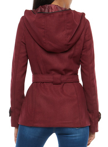 Wool Hooded Peacoat Jacket - Rainbow