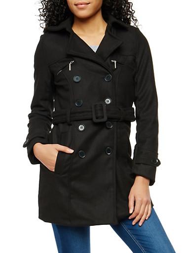 Zip Pocket Belted Peacoat,BLACK,large