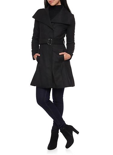 Belted Felt Coat with Oversize Collar,BLACK,large