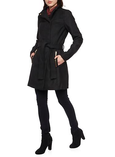 Felt Coat with Funnel Neck and Belt,BLACK,large