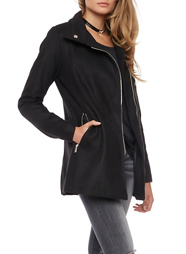 Asymmetrical Zip Coat with Funnel Collar,BLACK,large
