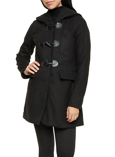 Felt Toggle Coat with Attached Hood,BLACK,large