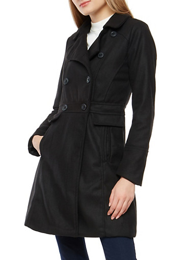 Long Wool Peacoat Jacket,BLACK,large