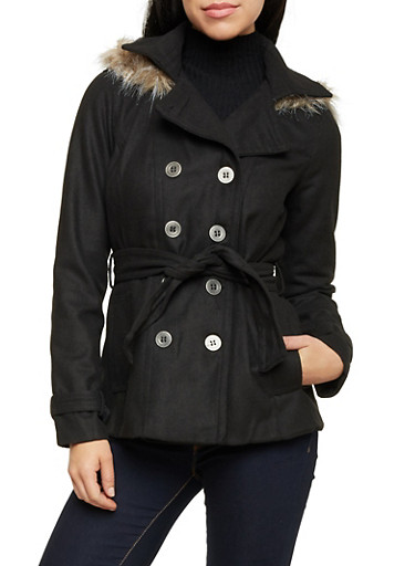 Felt Peacoat with Fur Trimmed Hood,BLACK,large