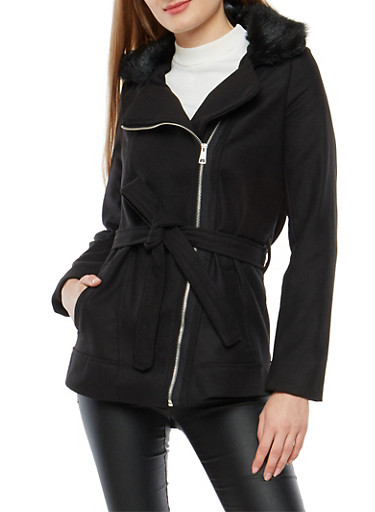 Zip Up Wool Jacket with Faux Fur Trim,BLACK,large