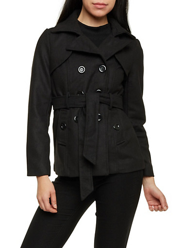 Belted Short Wool Peacoat,BLACK,large