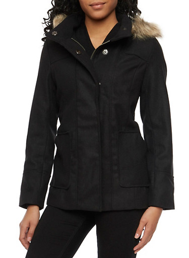 Hooded Knit Coat with Faux Fur Trim,BLACK,large