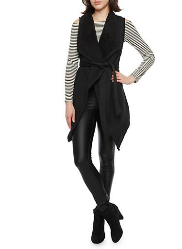 Belted Fleece Vest with Plush Lining,BLACK,large