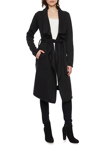 Fleece Duster with Tie Waist,BLACK,large