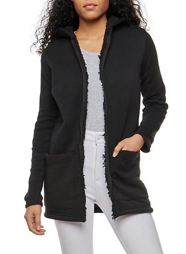 Sherpa Lined Zip Front Tunic Sweatshirt,BLACK,large