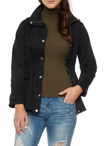 Anorak Jacket with Drawstring Waist,BLACK,large