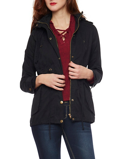 Anorak Jacket with Drawstring Waist,BLACK,large
