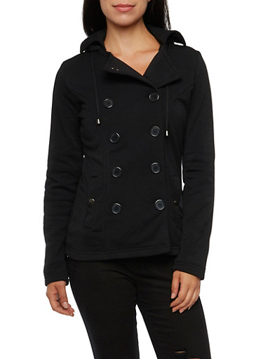 Peacoat with Hood and Fleece Lining,BLACK,large
