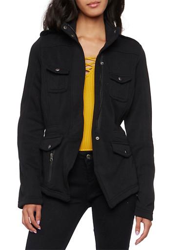 Fleece Jacket with Angled Hem,BLACK,large