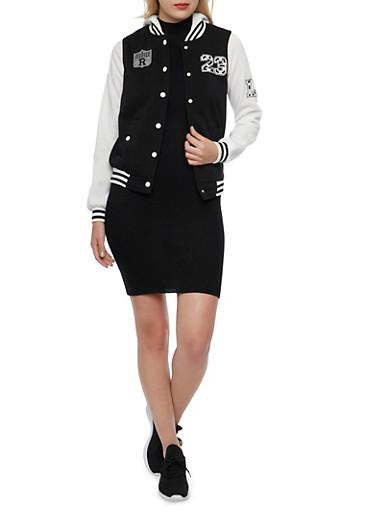 Varsity Jacket with Hood,BLACK,large