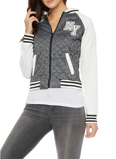 Hooded Varsity Jacket,CHARCOAL,large