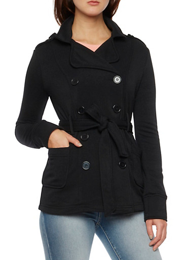 Belted Peacoat with Hood and Fleece Lining,BLACK,large