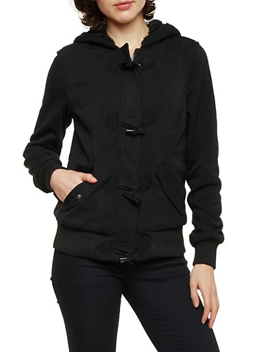Knit Toggle Jacket with Sherpa Hood,BLACK,large