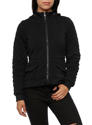 Hooded Fleece Jacket with Quilted Sleeves,BLACK,large