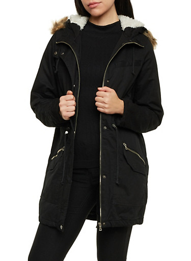 Hooded Jacket with Faux Fur Trim,BLACK,large