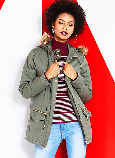 Hooded Anorak Jacket with Faux Fur Trim,OLIVE,large