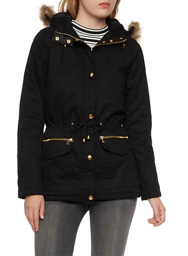 Drawstring Jacket with Faux Fur Trim,BLACK,large