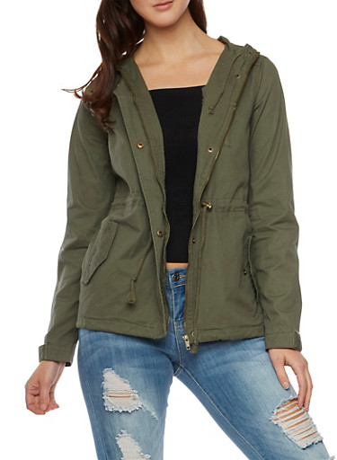 Hooded Jacket with Drawstring Waist,OLIVE,large