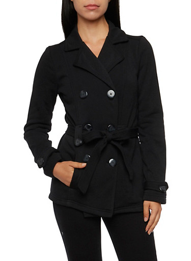 Belted Peacoat,BLACK,large