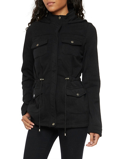 Fleece Lined Jacket with Attached Hood,BLACK,large