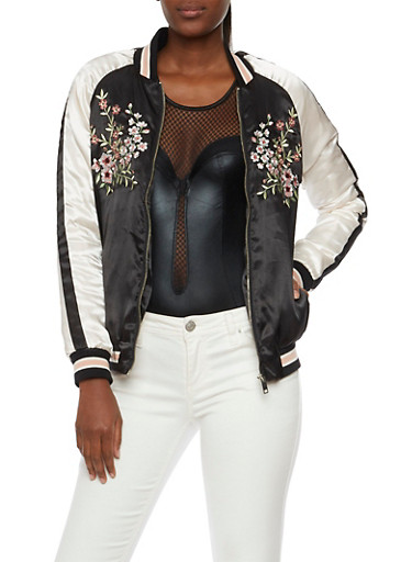 Satin Bomber Jacket with Floral Embroidery,BLACK,large
