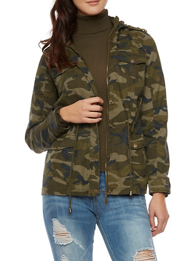 Camo Jacket with Hood and Drawstring Waist,GREEN CAMO,large